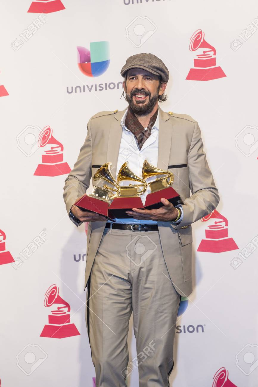 LAS VEGAS , NOV 19 : Juan Luis Guerra, winner of the Album of the Year, poses in the press room during the 16th Annual Latin GRAMMY Awards on November 19 2015 in Las Vegas, Nevada - 48749449