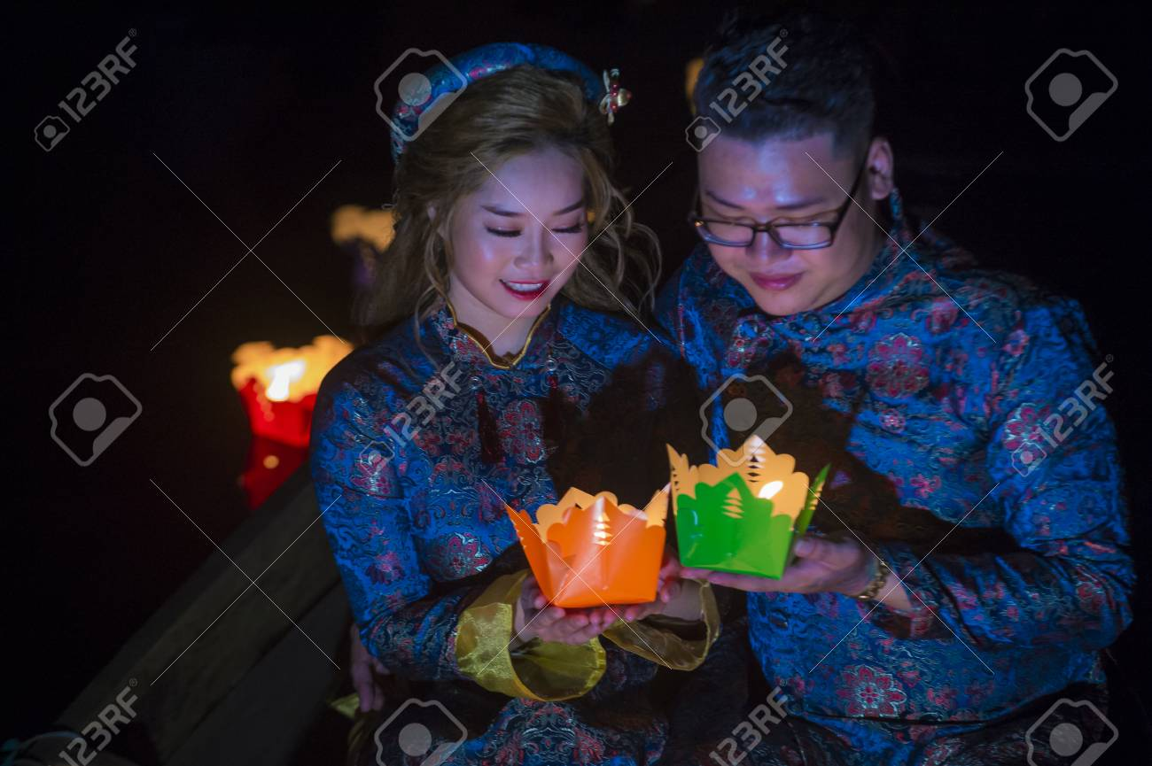 Hoi An Vietnam Oct 04 Vietnamese Couple Holding Lanterns Stock Photo Picture And Royalty Free Image Image 104746861