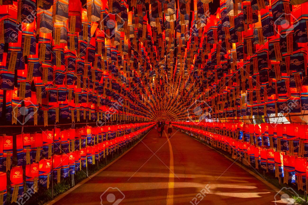 Jinju South Korea Oct 07 Tunnel Of Lanterns During The Stock Photo Picture And Royalty Free Image Image 134760107