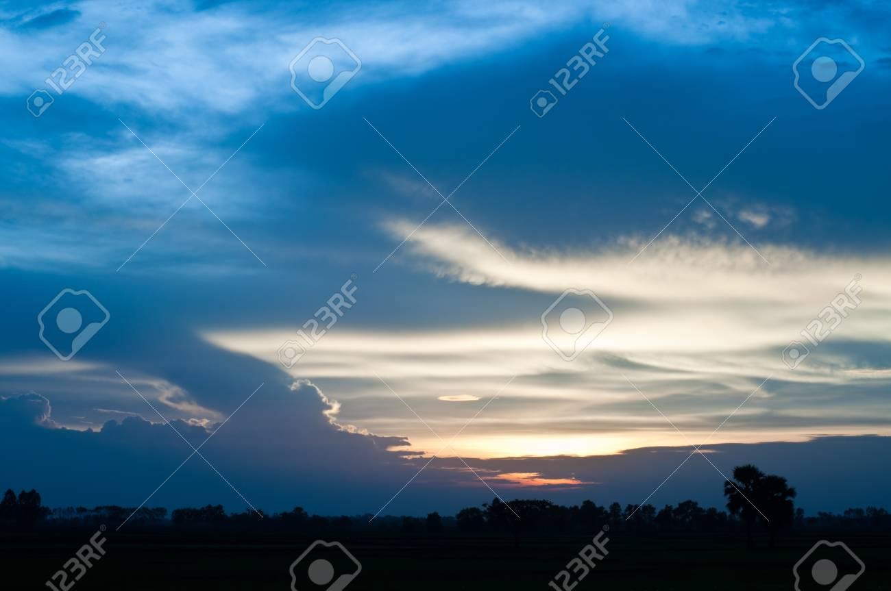 Sunset in evening at Prachinburi province, Thailand. Stock Photo - 8200707