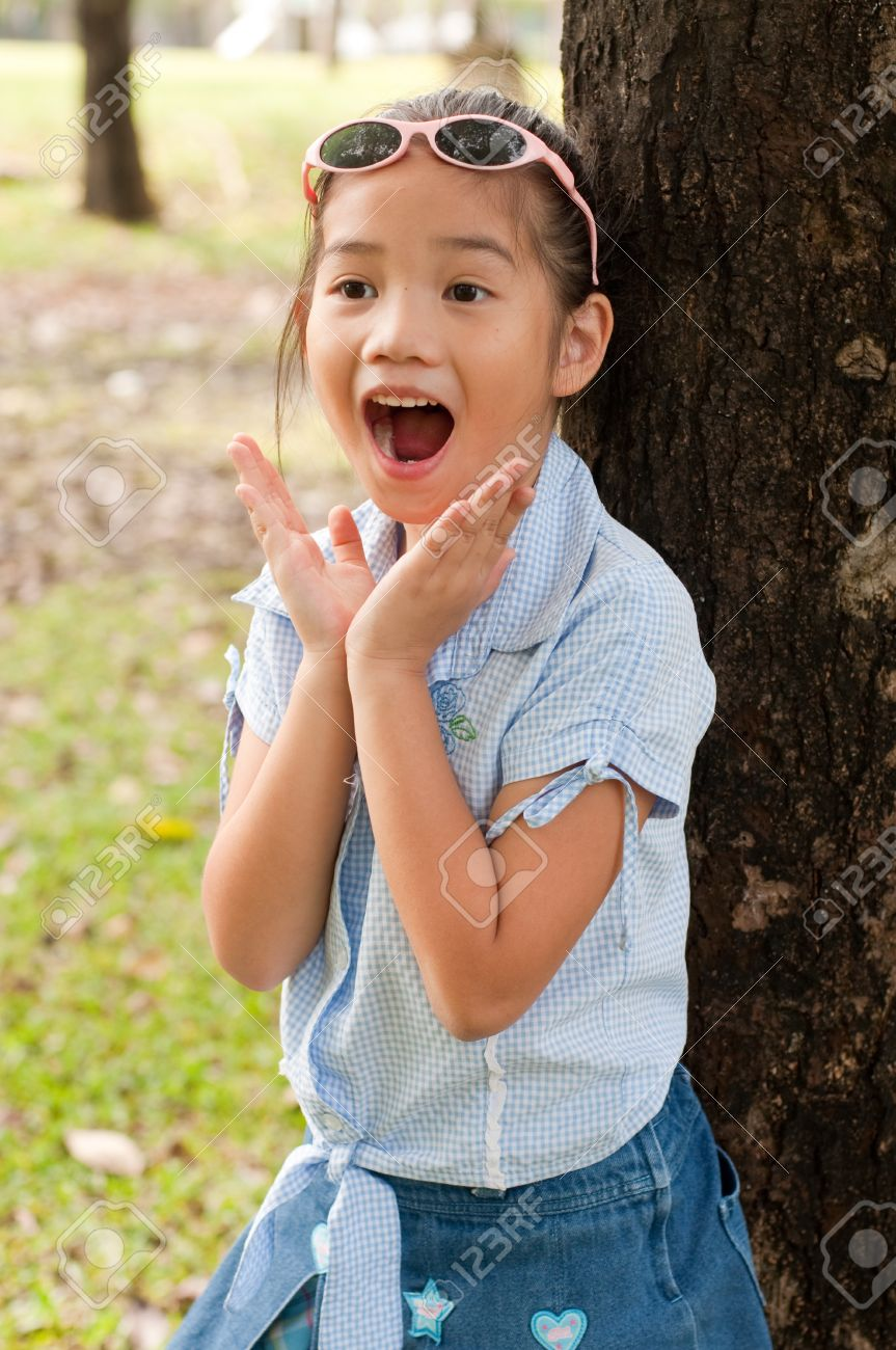 Portrait Of Beautiful Little Asian Girl In The Park Thailand Stock Photo 15797759