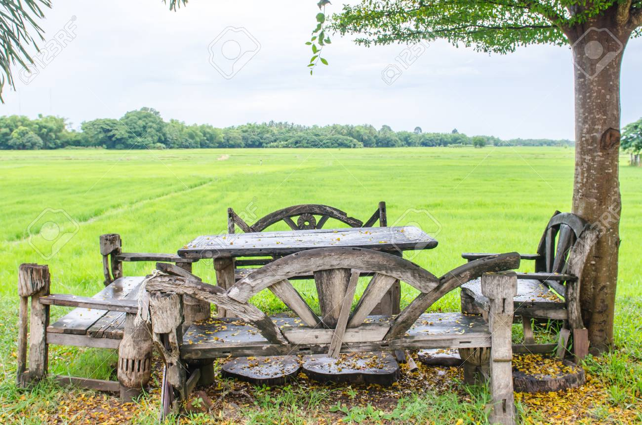 Thai style desk with rice field, Thailand. Stock Photo - 22240068