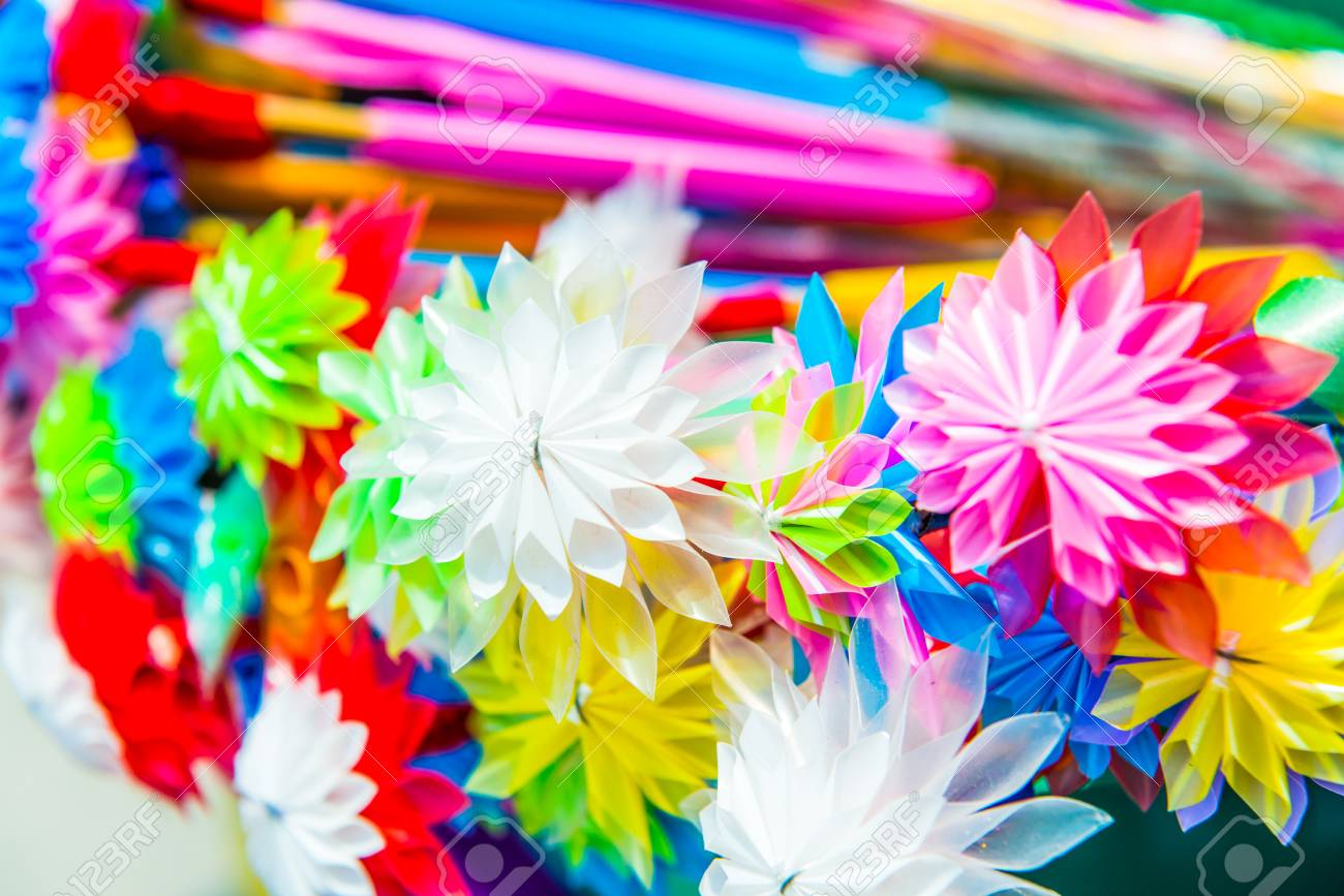 Colorful Flowers Made From Plastic Tube Thailand Stock Photo