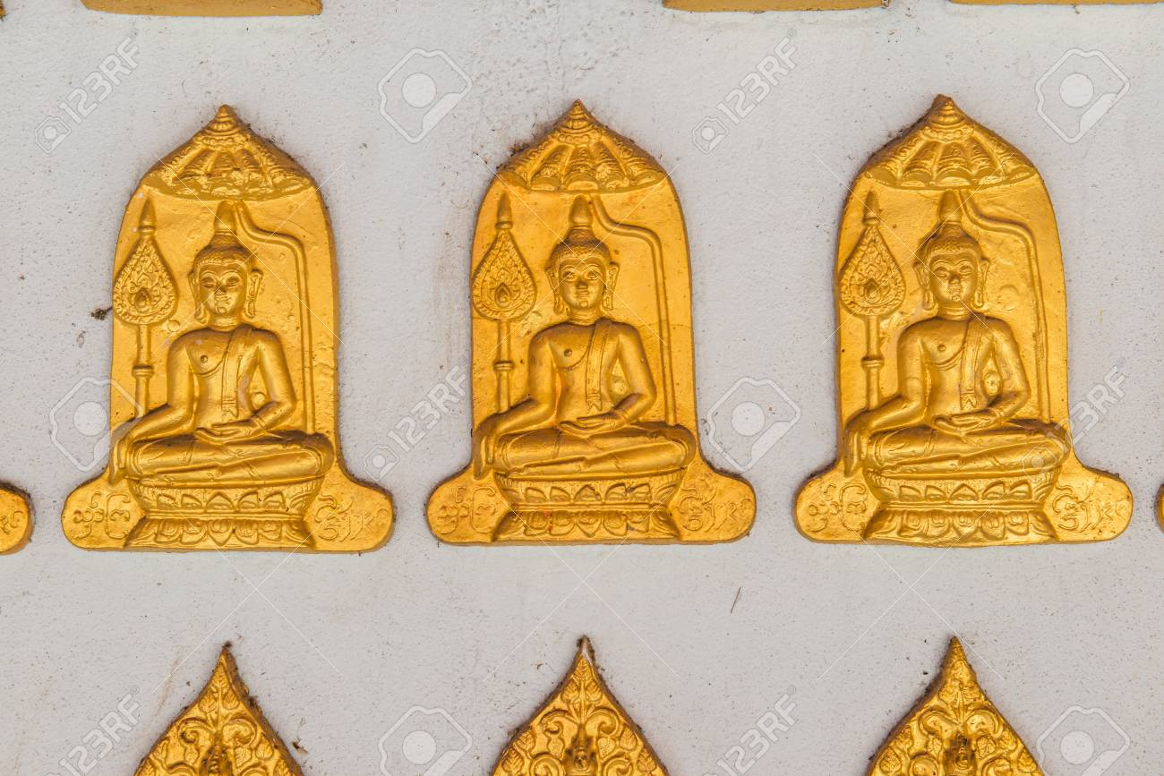Buddha Molding Art On The Wall, Thailand. Stock Photo, Picture And ...