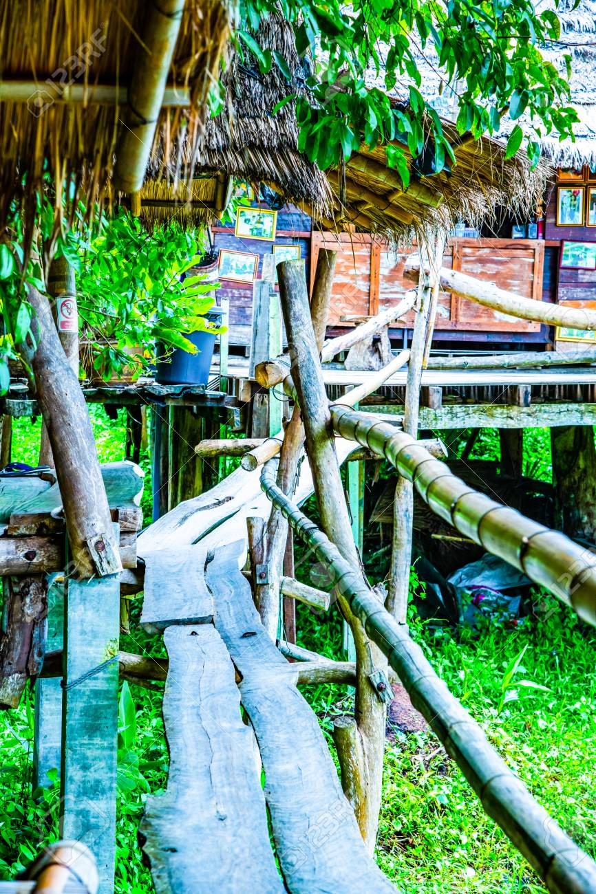 Small bridge with native house in Pua district, Thailand