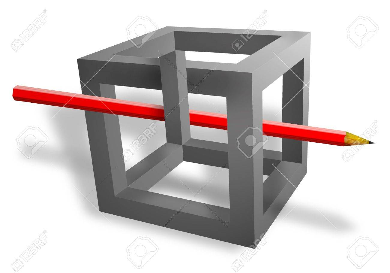 red pencil pass throught the grey cube with wrong located verges isolated on white Stock Photo - 4863578