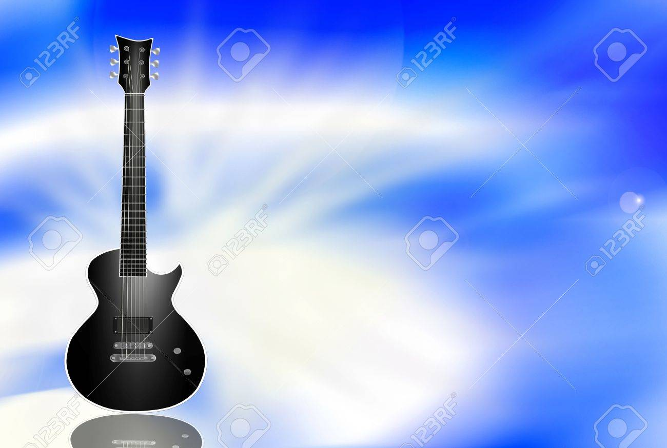 Black Electric Guitar On Light Blue Background Stock Photo Picture