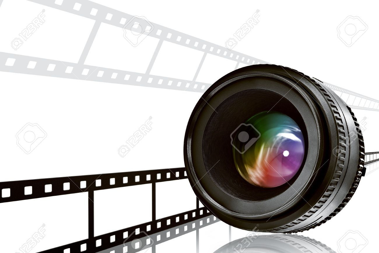 lens and film strip on white background Stock Photo - 8736946