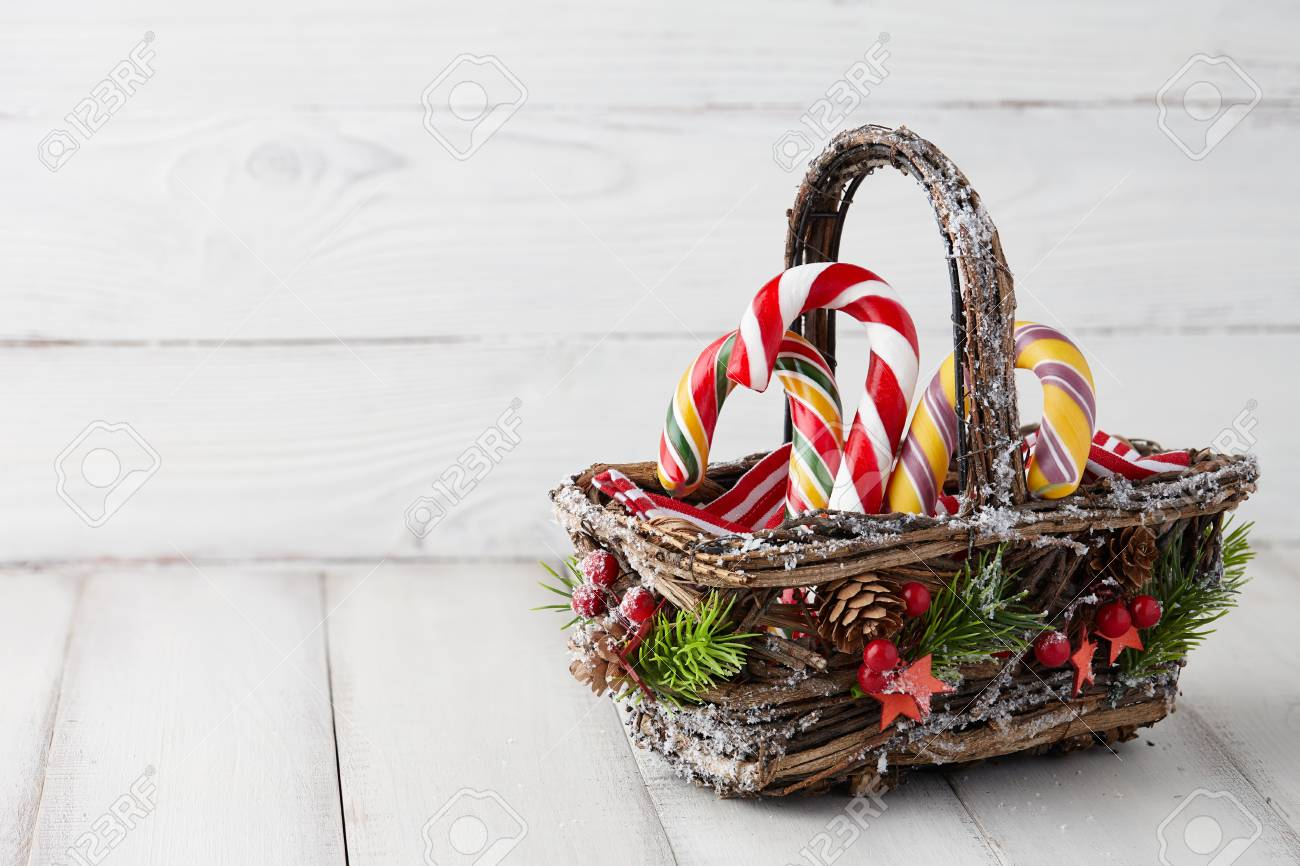 new year flowers- Candy Cane Basket