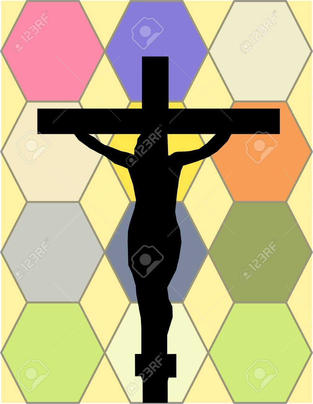 White Cross on The Color Wall of the Temple Stock Vector - 17210283