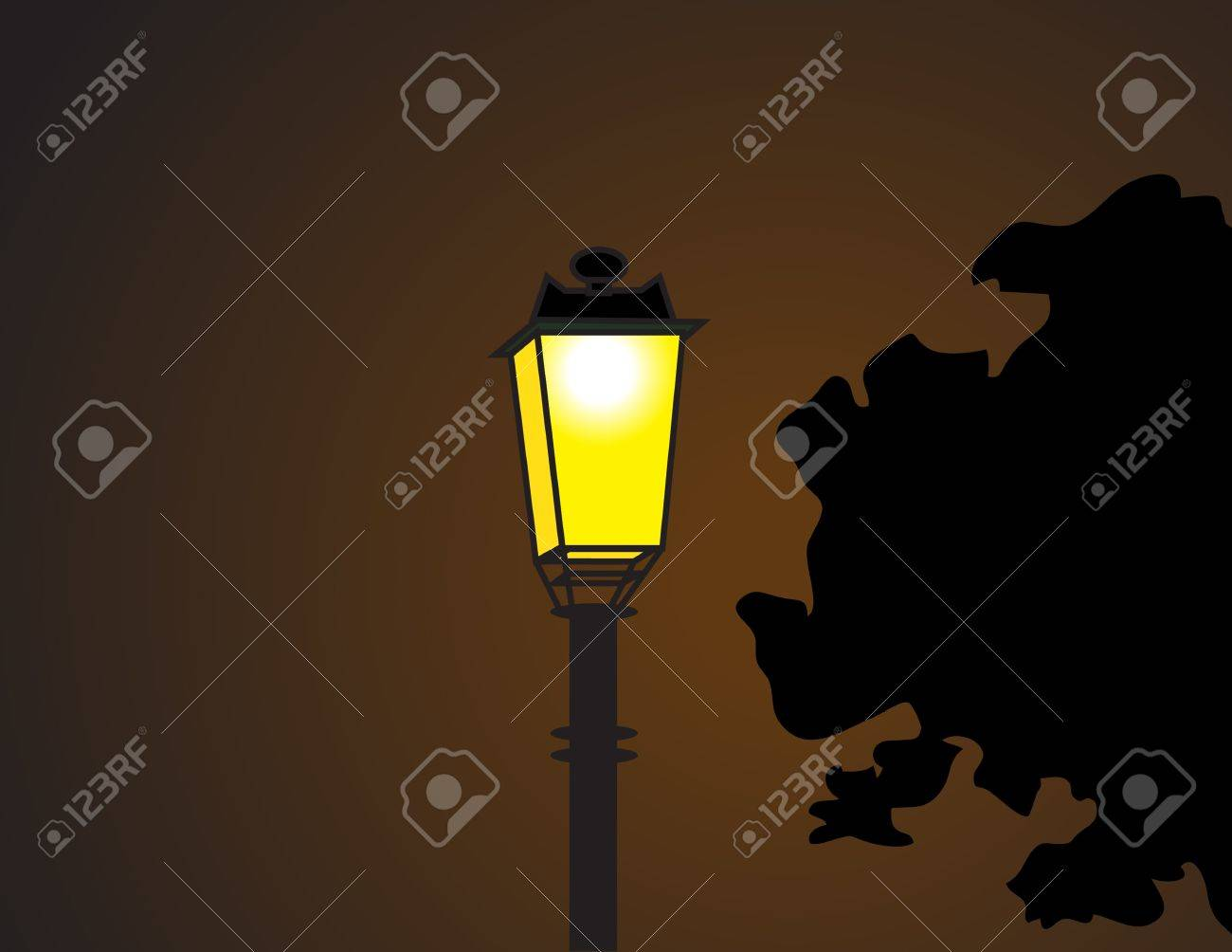 The Electricity Post in the Dark Night Stock Vector - 17210288