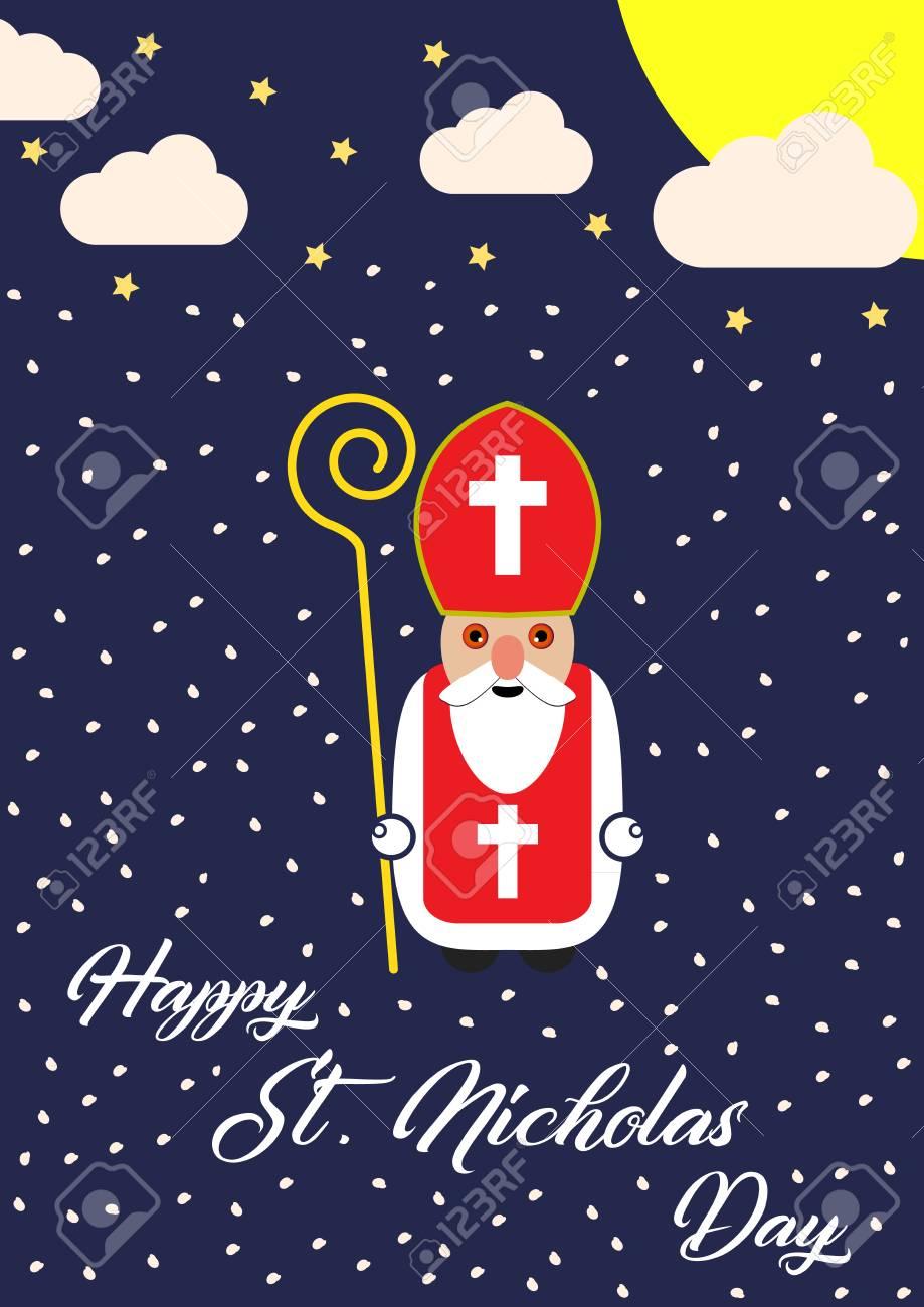 Carte De Voeux De Dessin Animé Mignon Avec Le Caractère De Saint Nicolas