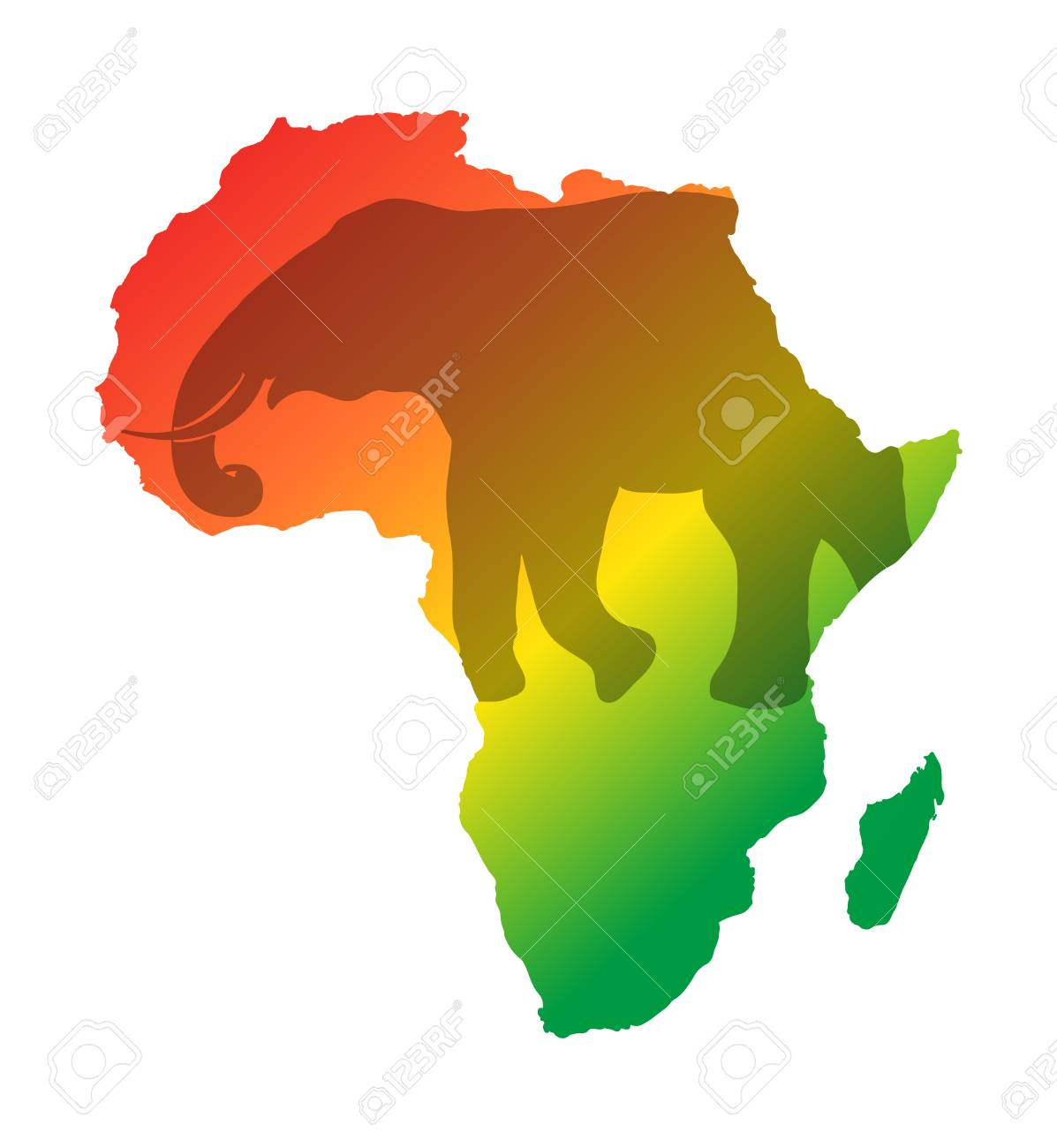 Colorful Map Of Africa.Colorful Africa Map Isolated On Transparently Background World
