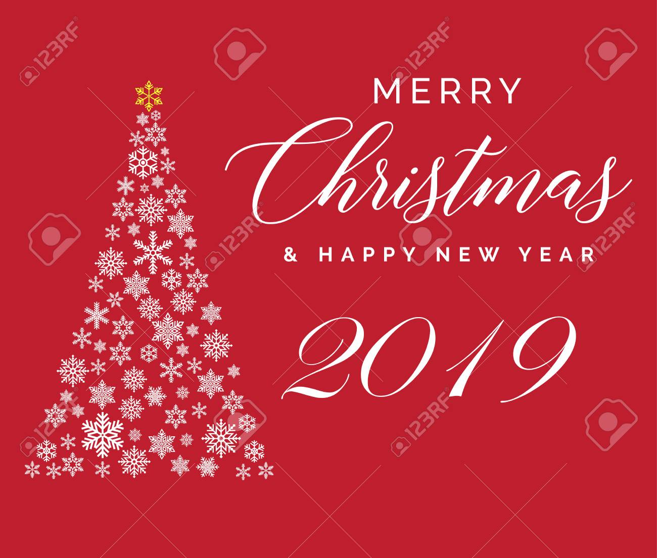 Merry Christmas And Happy New Year 2019 Lettering Template Greeting