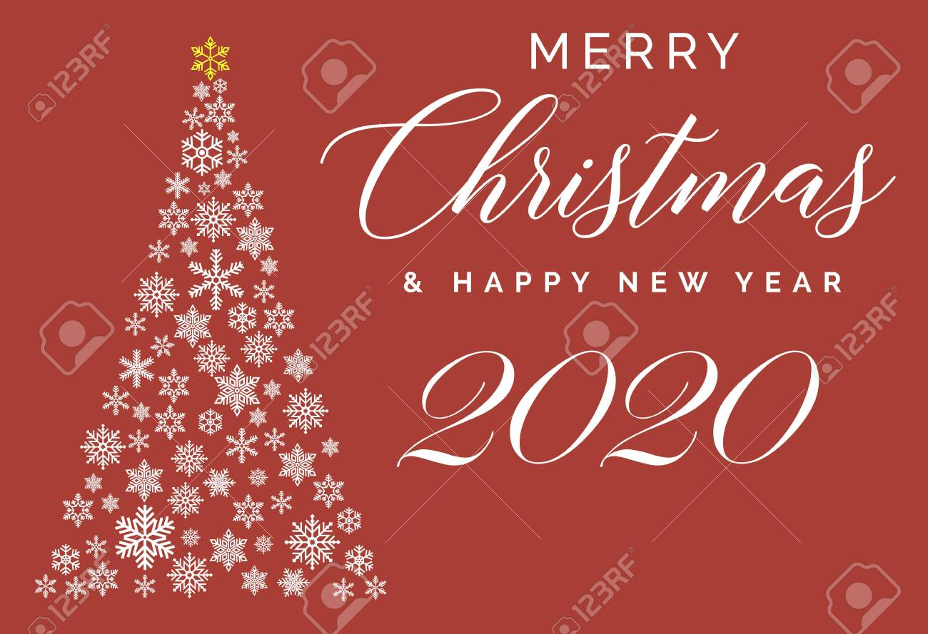 2020 Merry Christmas Card Merry Christmas And Happy New Year 2020 Lettering Template