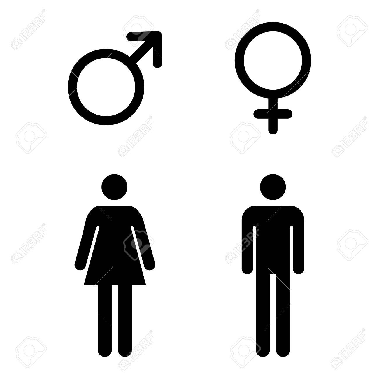 Male and female icon, symbol set. Website design vector illustration isolated on white background . - 133772757