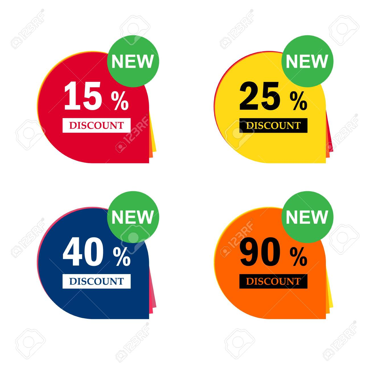 Sale discount icons. Special offer price signs. 15, 25, 40 and 90 percent off reduction symbols . - 139212717