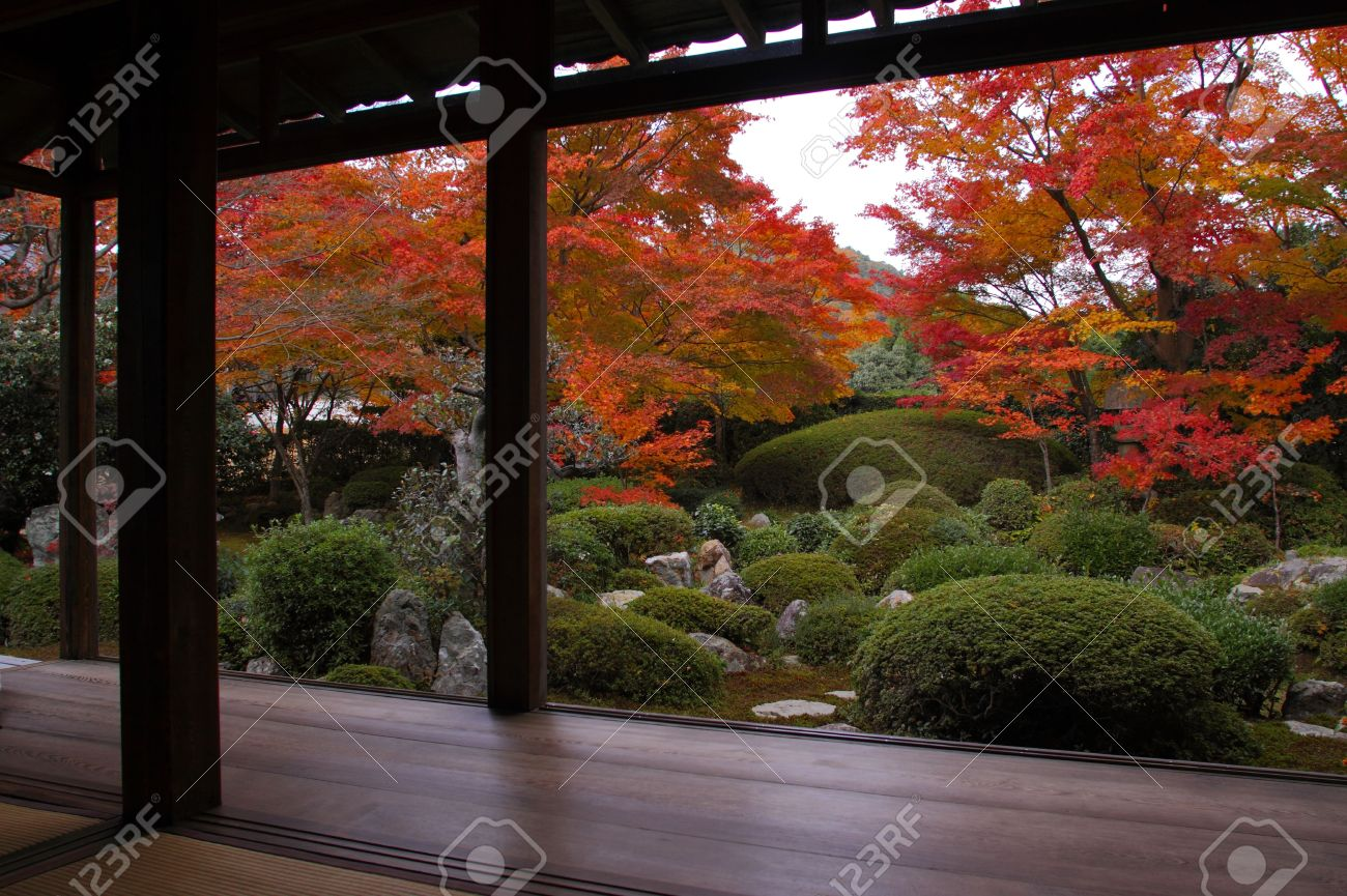 Traditional japanese gardens - A Traditional Japanese Garden In Kyoto Stock Photo 6103484