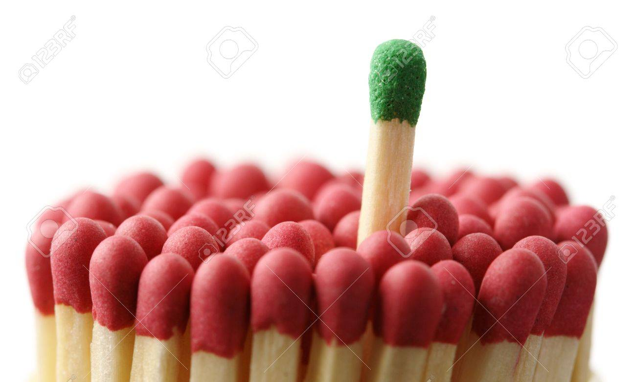 Single Green Matchstick Among Red Ones, Out Of The Crowd Concept ...