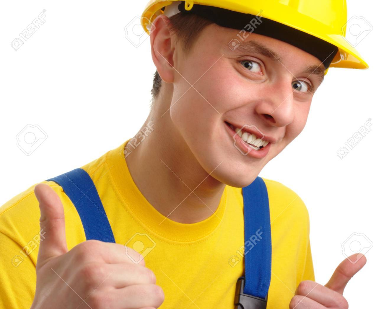 young construction worker showing good hand sign isolated stock photo young construction worker showing good hand sign isolated over white