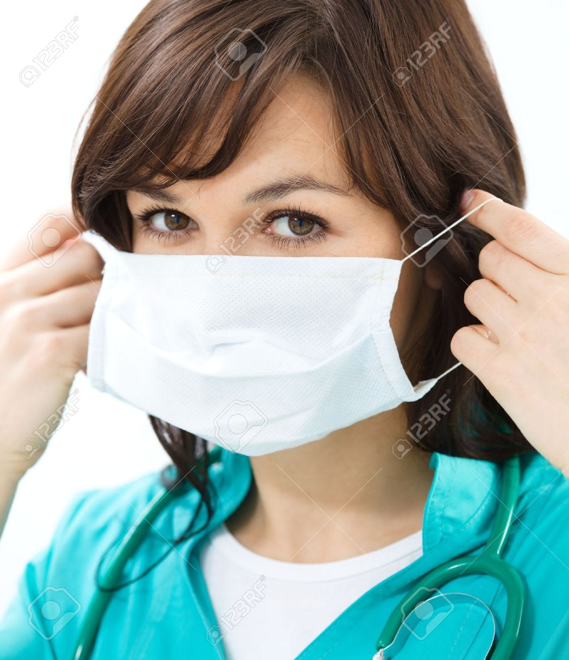 Doctor Surgical In Uniform Woman Of Wearing Portrait Mask A