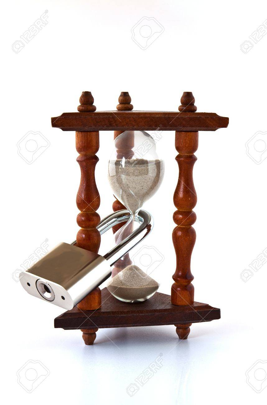 Decorative Hourglass With A Large Metal Locked Padlock Stock Photo - Decorative-hourglass