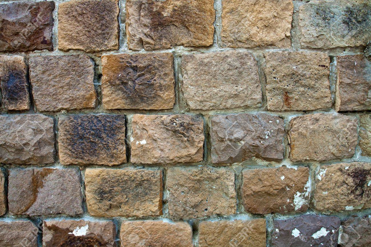 Decorative Exterior Wall Covering Resembling A Stone Wall Stock