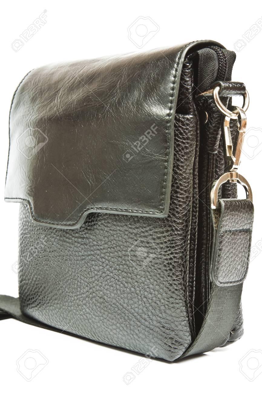 d9ecec95 Small elegant black men's leather bag shoulder strap Stock Photo - 30459123