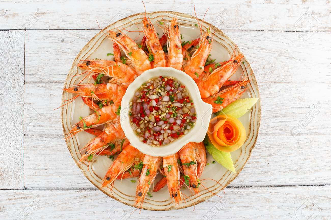 Shrimps With Seafood Chili Sauce Stock Photo Picture And Royalty Free Image Image 58706345