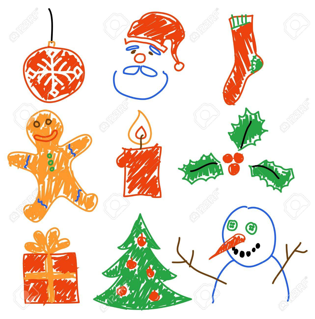 Drawings Of Christmas Decorations.Hand Drawing Christmas Decorations Santa Snowman Cookie And