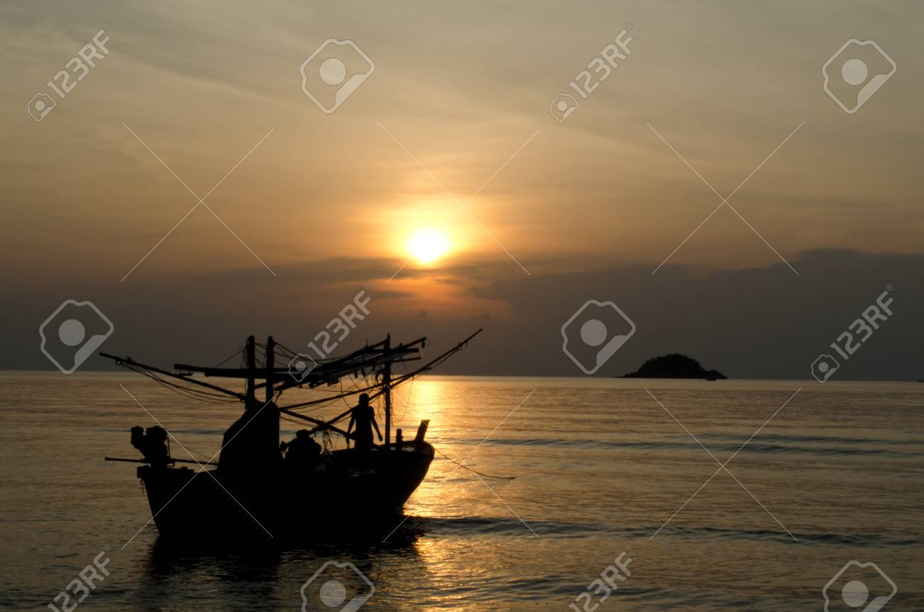 fishing boat and sunset in Thailand Stock Photo - 13559343