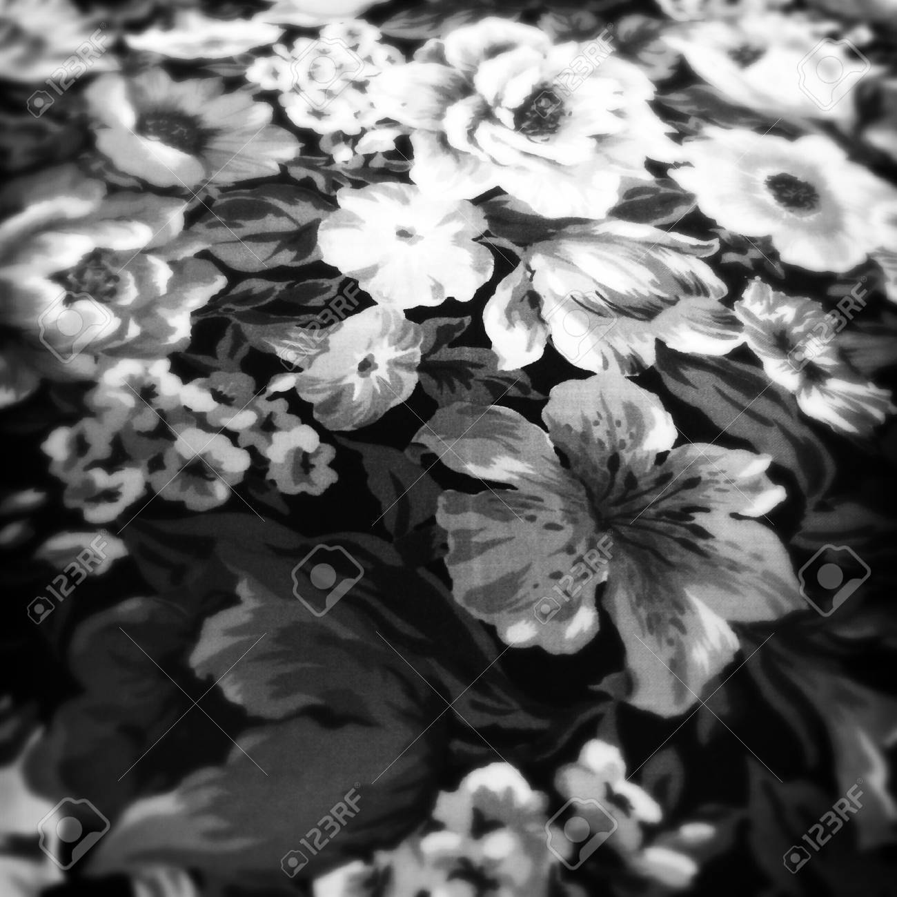Floral design print in fabric in black and white royalty free stok floral design print in fabric in black and white stok fotoraf 44012283 mightylinksfo