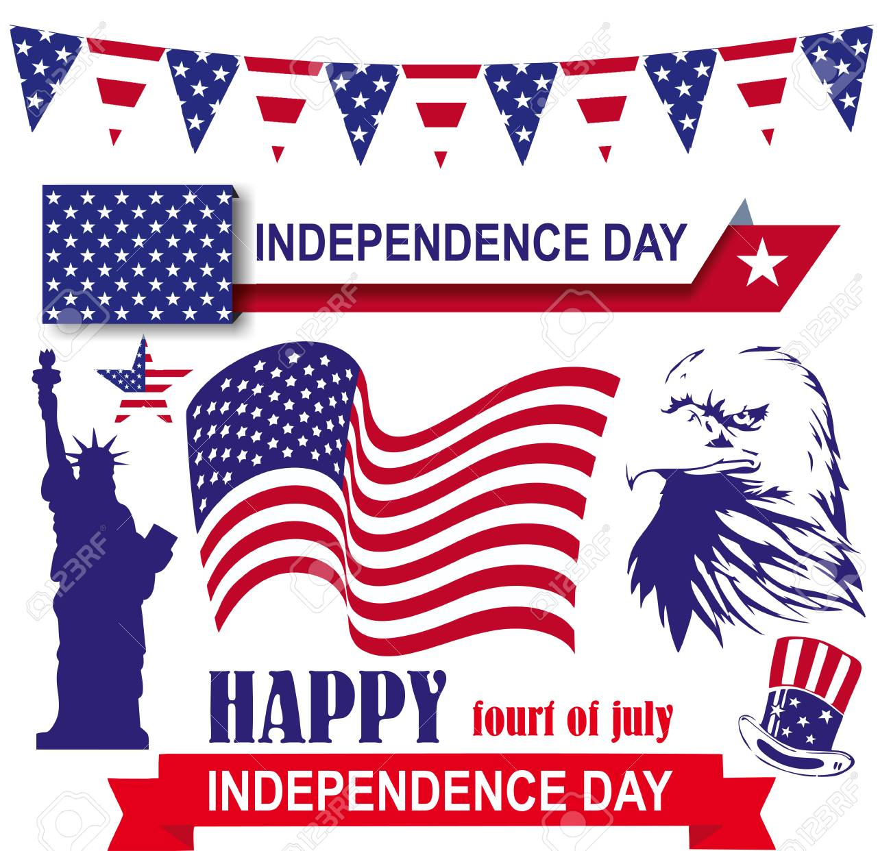 Independence Day 4th Of July In America Set American Symbols
