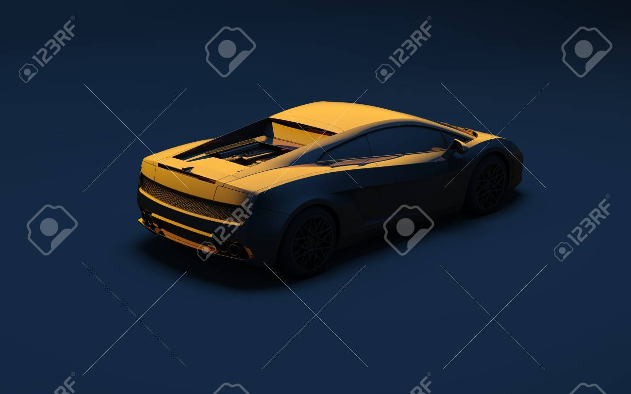 Sports Gold Car On A Dark Blue Background Stock Photo Picture And