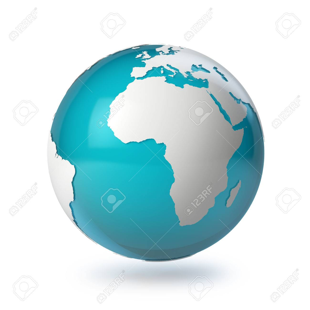 3d globe with white world map of continents globe with shadow 3d globe with white world map of continents globe with shadow on a white background gumiabroncs Gallery