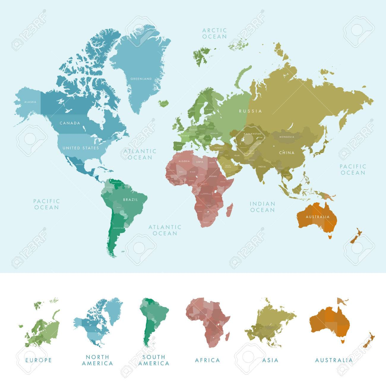 Continents and countries on the world map marked colored highly continents and countries on the world map marked colored highly detailed world map stock gumiabroncs Choice Image