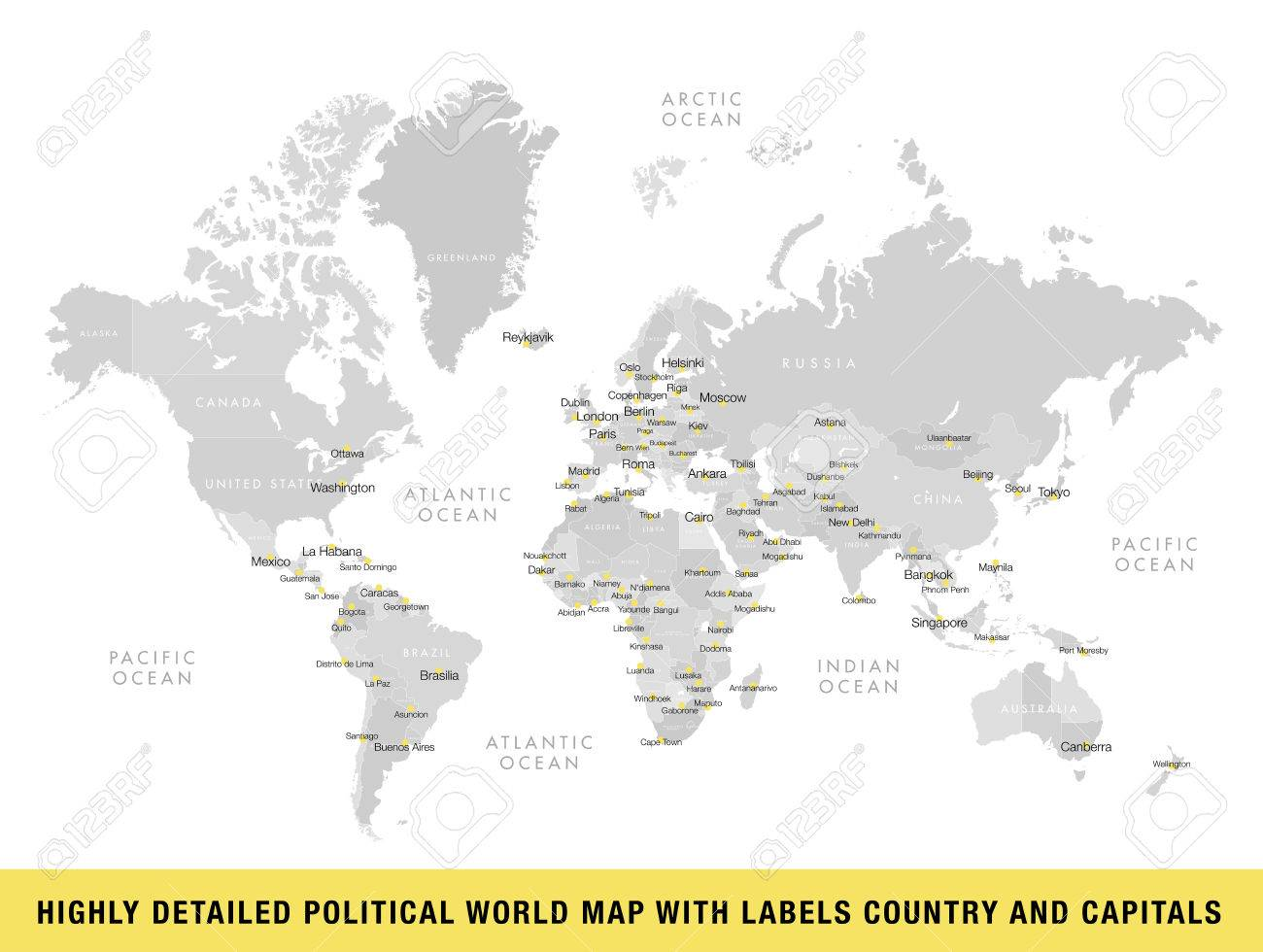 Highly detailed political world map with capitals vector highly detailed political world map with capitals vector illustration stock vector 82764093 gumiabroncs Choice Image