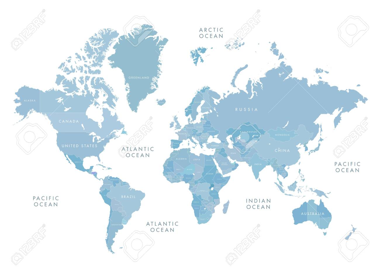 Blue world map with labeling - 137734719