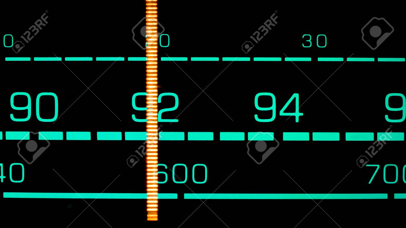 Tuning Into 92 MHz FM On An Old 70s Radio Receiver Stock Photo