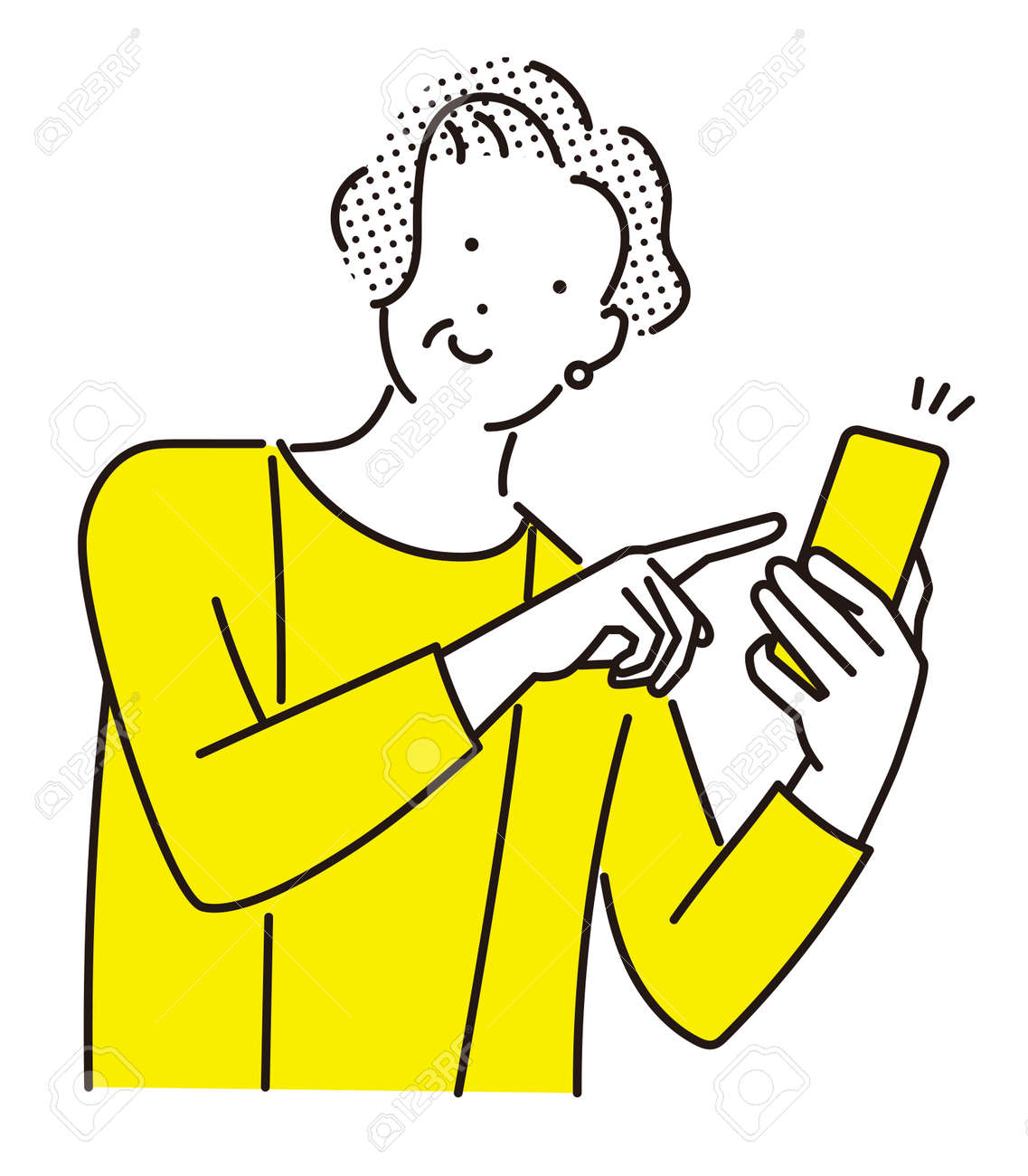 Elderly woman pointing at her smartphone with a smile - 168286849