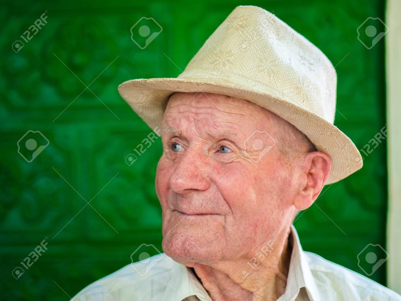 bcc7a4d39 Very old man portrait with emotions. Grandfather happy and smiling...
