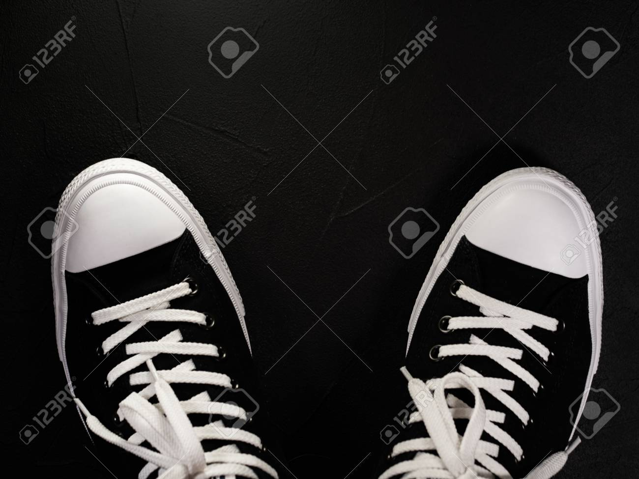 Black Sneakers With White Shoelaces