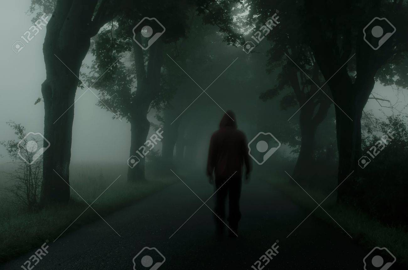 silhouette of man in dark atmosphere Stock Photo - 10428948