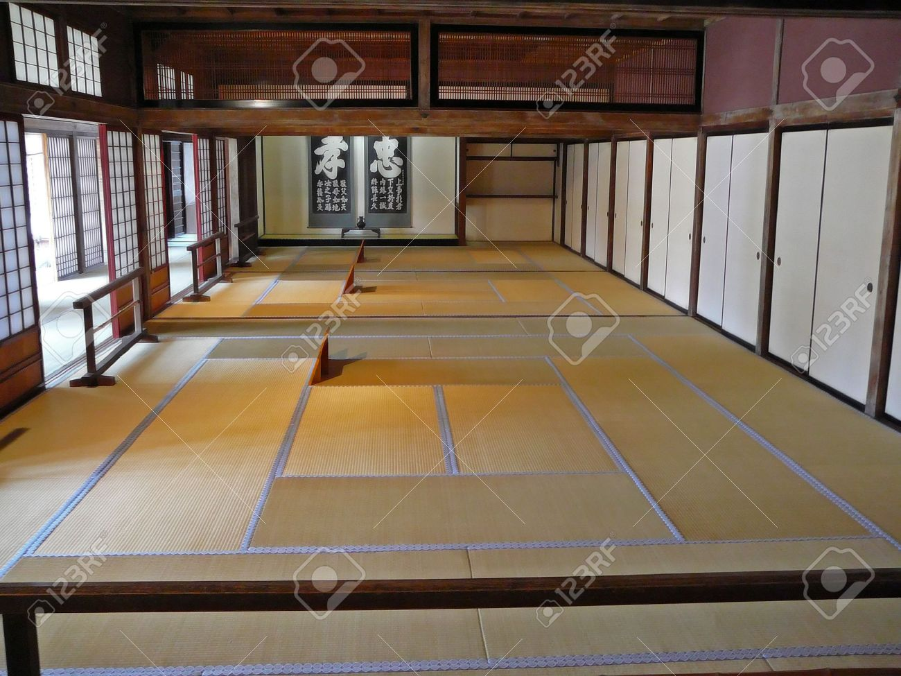 large japanese style room typical are the tatami mats on the