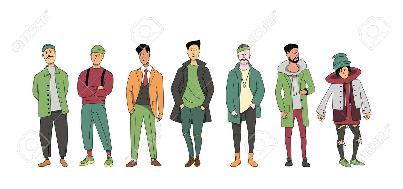 A group of different men of different ages standing together. A set of characters in street clothes. - 169157187