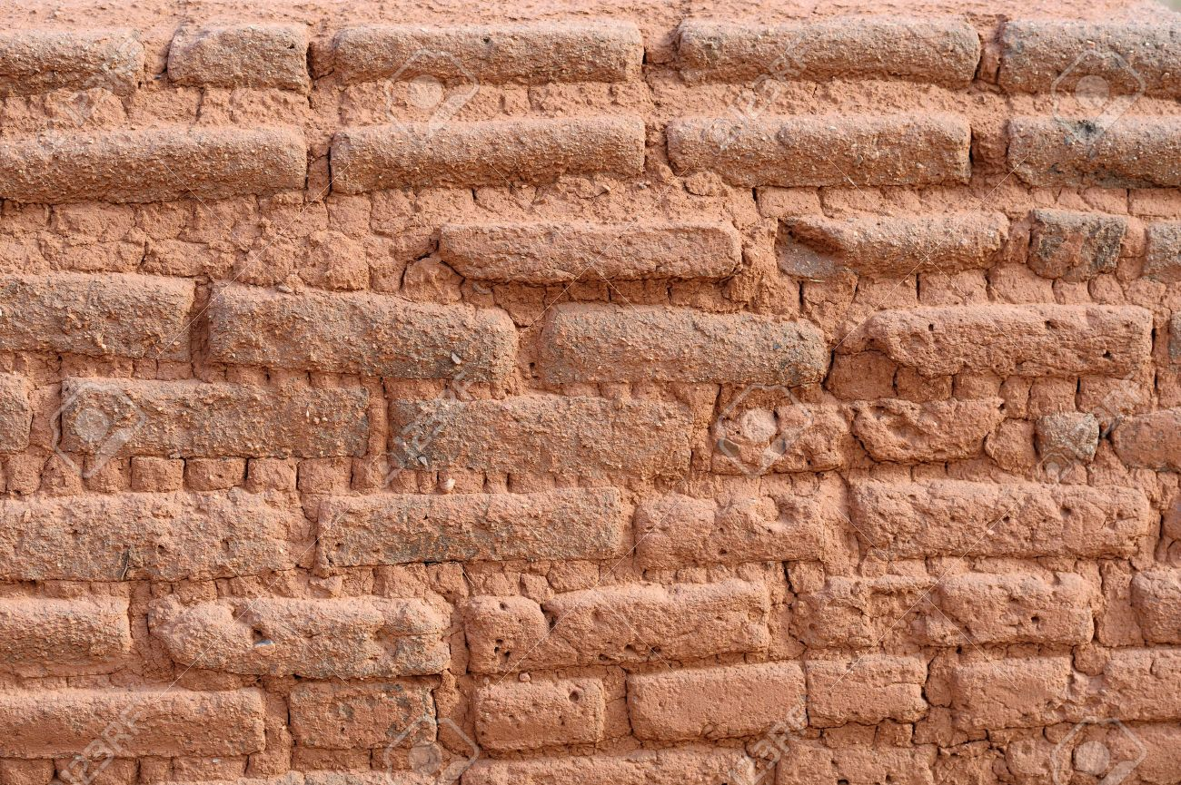 Adobe Brick Wall in Santa Fe, New Mexico USA Stock Photo - 15050709