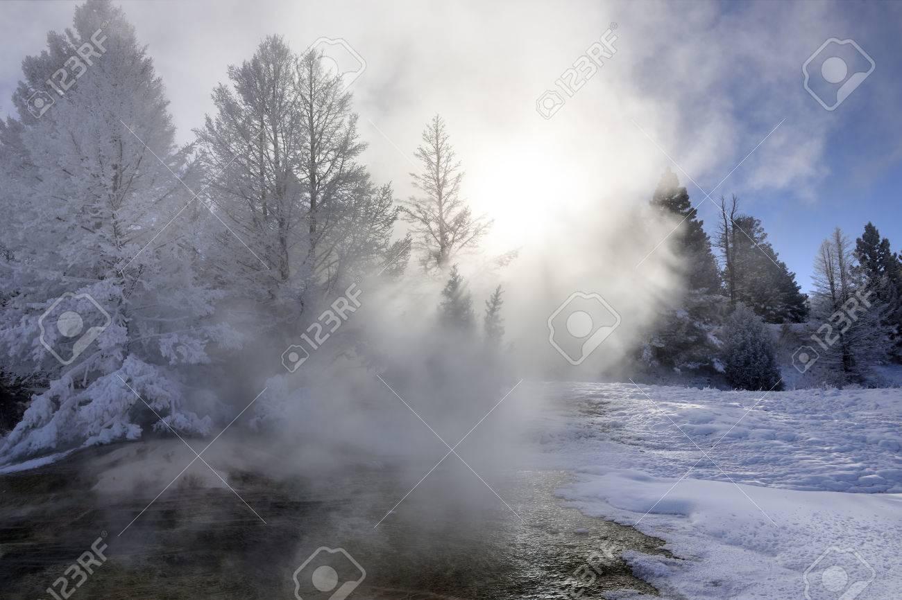 Yellowstone Mammoth Hot Spring in winter - 36112189