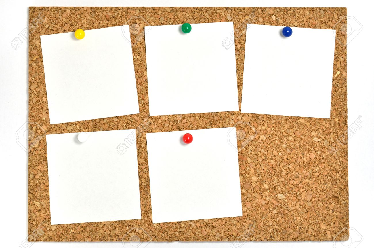 cork board and blank notes the blank notes of five sheets stuck on the corkboard
