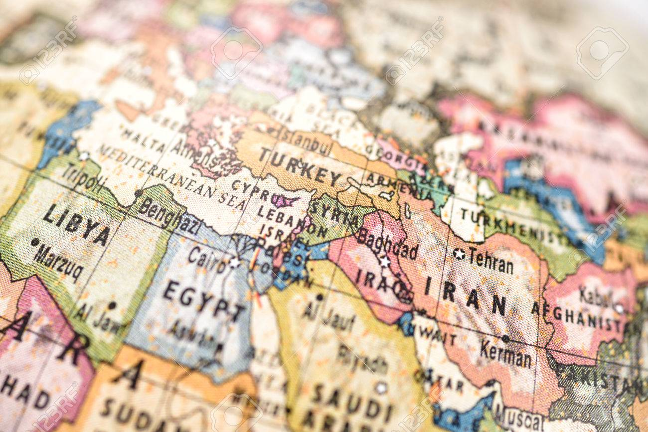 Close up of west asia in the colorful world map stock photo close up of west asia in the colorful world map stock photo 32992413 gumiabroncs Image collections