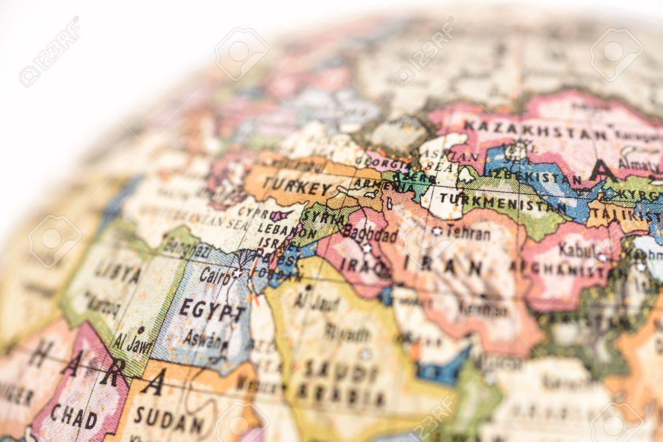 Close up of west asia in the colorful world map stock photo close up of west asia in the colorful world map stock photo 32992415 gumiabroncs Image collections